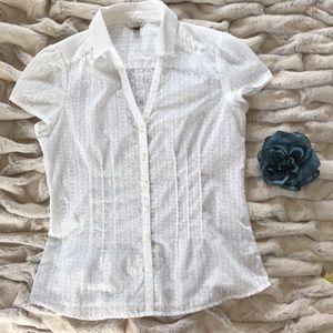 Sonoma White Button Down Blouse Semi Sheer sz M